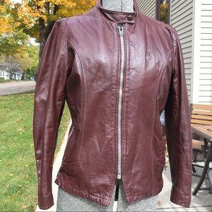 Vintage Leather Racer Jacket removable lining